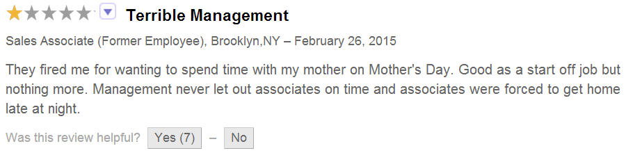 Bad employee review online for Staples