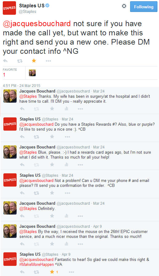 Reputation management best practices shown on Twitter by Staples