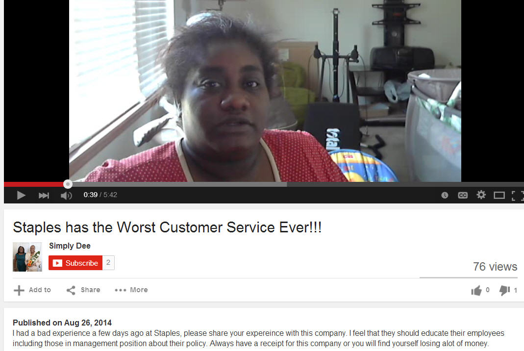 Customer reviews by video to address with reputation management for Staples