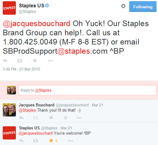 Twitter response by Staples as part of reputation management