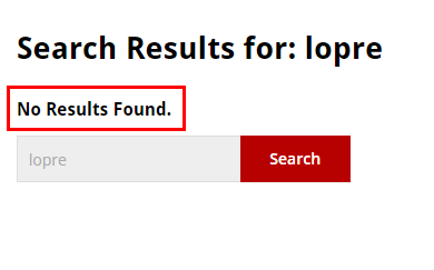 no search results found box