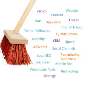 A list of digital marketing tactics being cleaned up with a broom