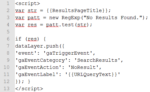 no site search results found custom html tag manager code