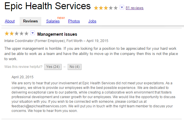 Customer review for Epic Health Services