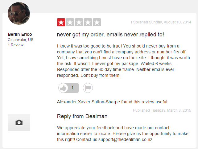 "Response on TrustPilot to ""make it right"" when a customer had an issue"
