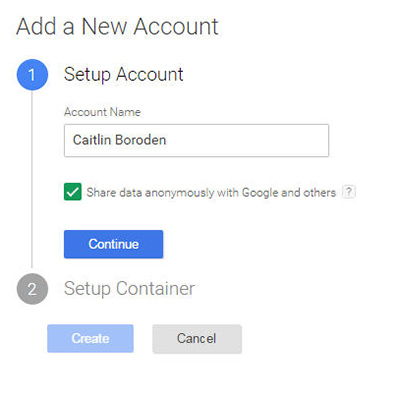 A screenshot showing how to add a new account in Google Tag Manager