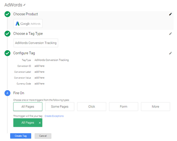 A screenshot showing the Google Tag Manager adwords set-up