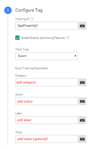 A screenshot showing Google Tag Manager configure tag set-up