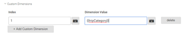 A screenshot showing the Google Tag Manager custom dimensions set-up