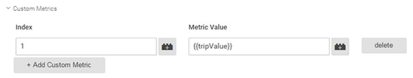 A screenshot showing the Google Tag Manager custom metrics set-up