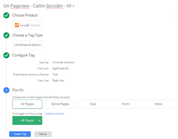 A screenshot showing the Google Tag Manager GA pageview set-up