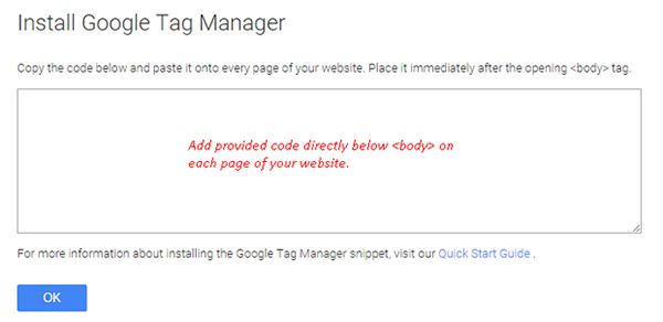 A screenshot showing how to install Google Tag Manager
