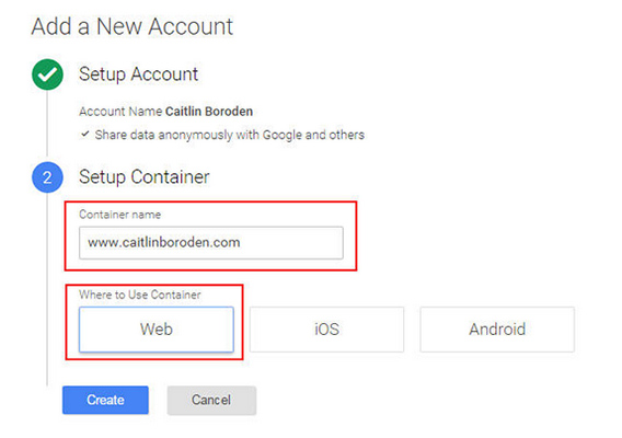 A screenshot showing the Google Tag Manager set-up container