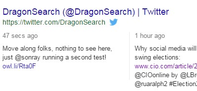 A screenshot of a DragonSearch tweet in the SERPs with Owl.li shortener