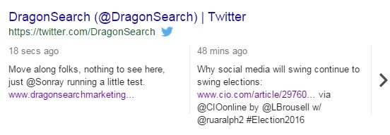 A screenshot of DragonSearch in the SERPs for Twitter