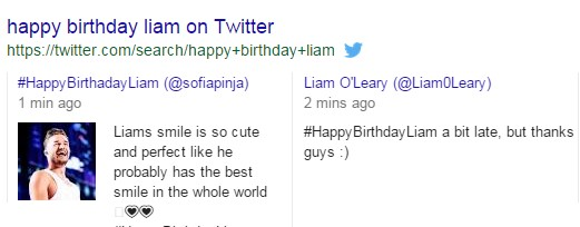 A screenshot of twitter search results for Happy Birthday Liam
