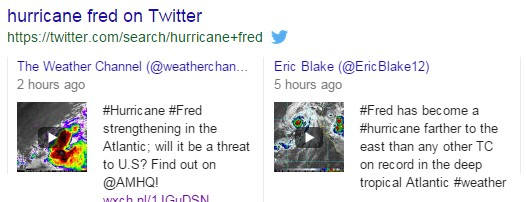 A screenshot of Twitter results in the search results