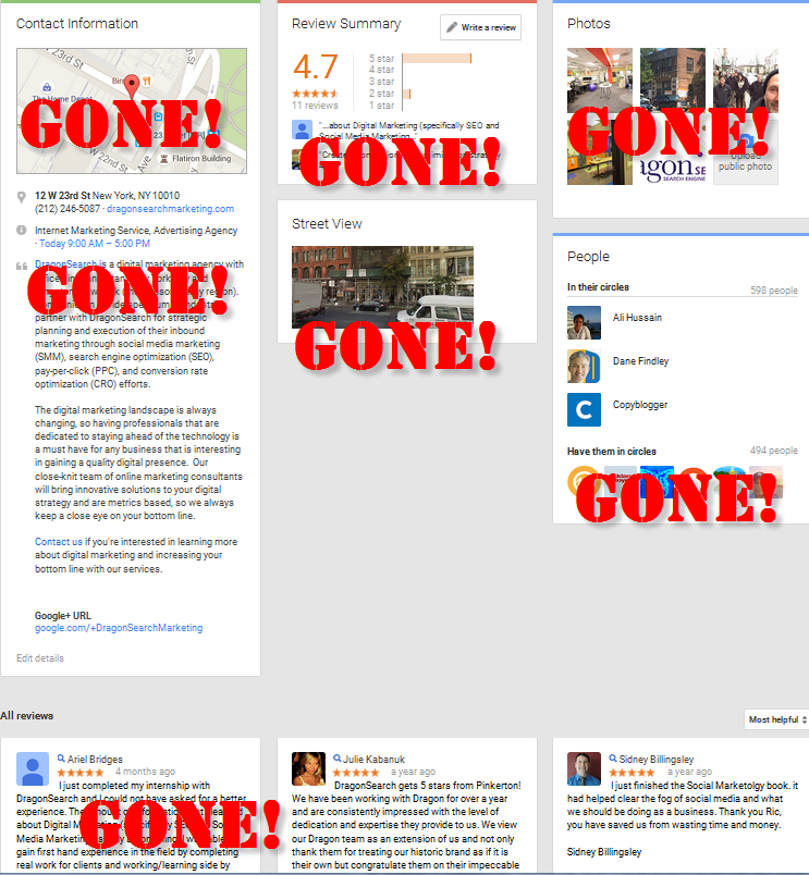 All of the Google+ About features that have gone with the new interface.