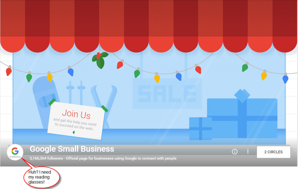 Google Small Business G+ page has a profile image too small to read.