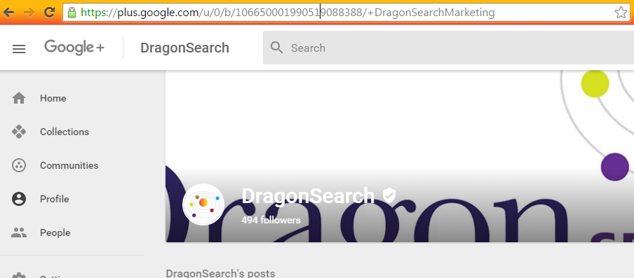 The long number version of a G+ URL that works if logged in as that page.