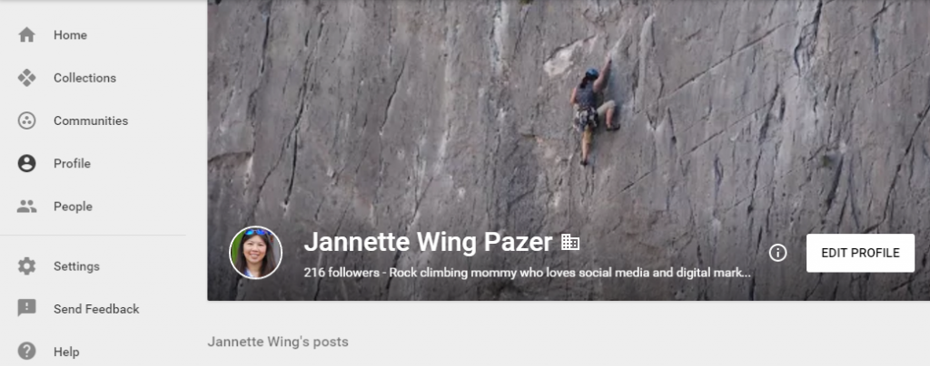 Example of the new Google+ profile layout.