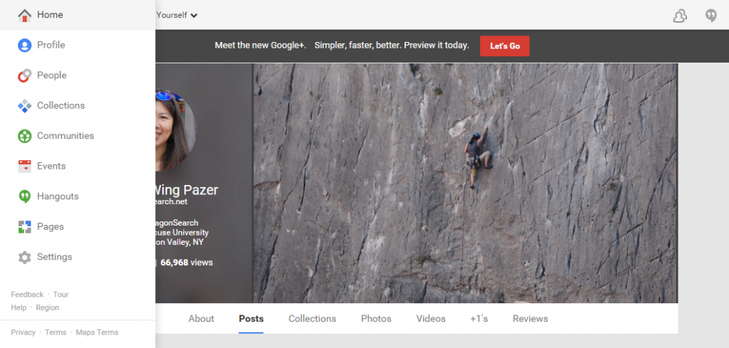Example of the old Google+ profile layout.