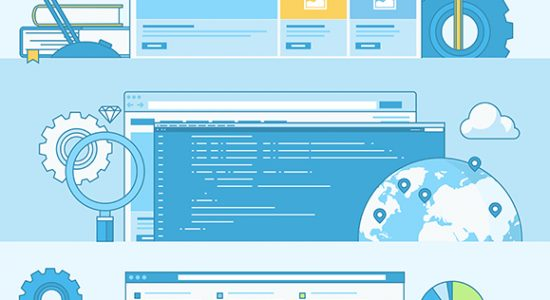 3 diagrams showing charts and graphs for local digital marketing on screens