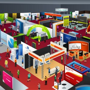 Colorful graphic of a trade show showing booths & attendees.