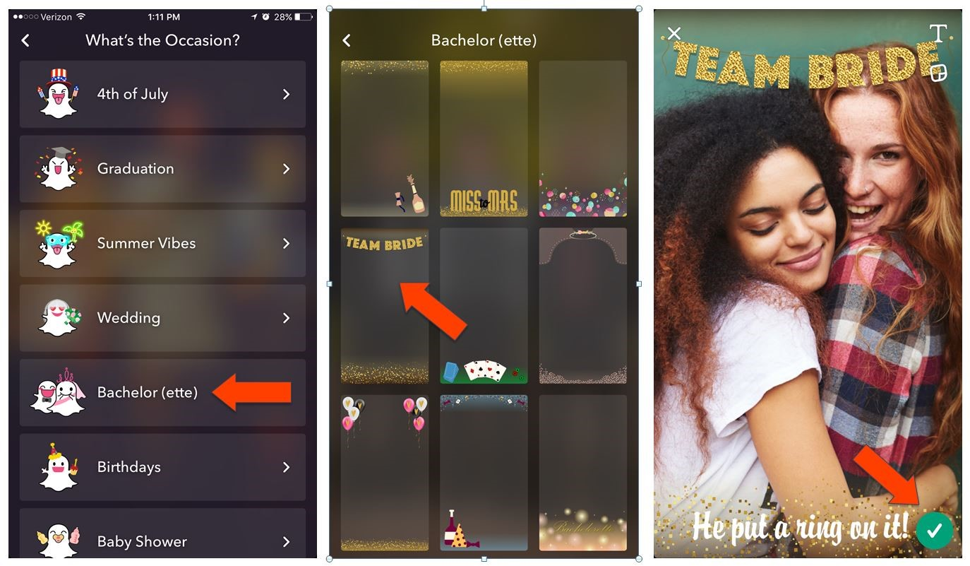 Snapchat mobile geo filters screenshots of how to set up and choose occasions for the filters.