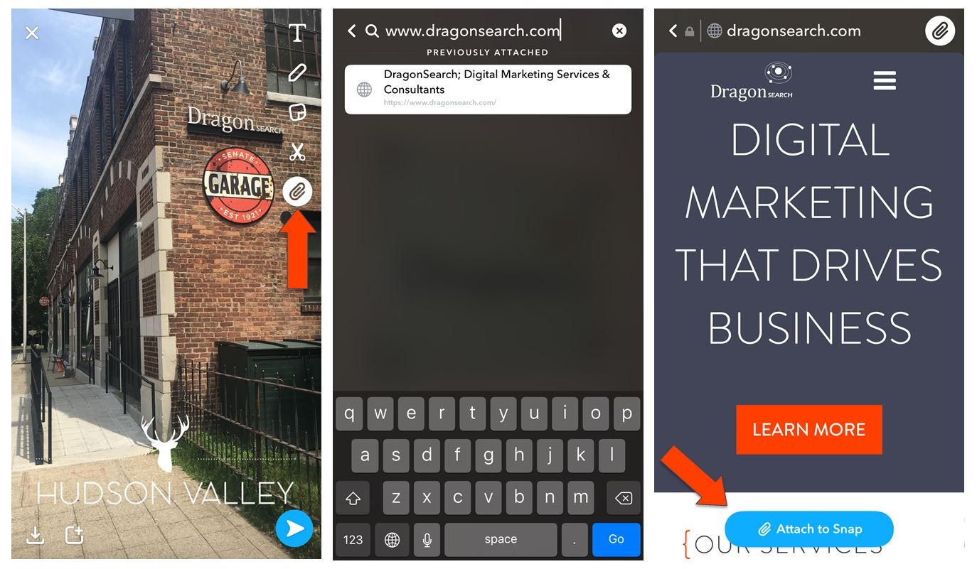 Image about Snapchat & digital marketers showing DragonSearch digital marketing brand & logo.