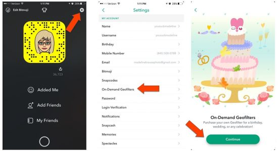 An example with screenshots of new Snapchat mobile geo filters showing the first steps on how to create them.