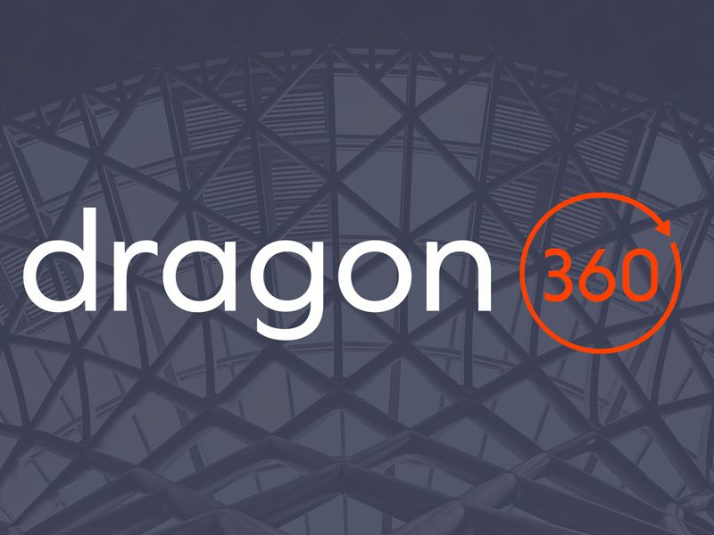 The dragon360 logo set on a creative background