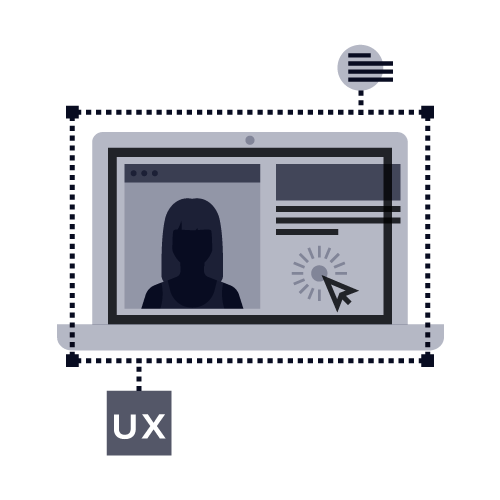 An icon illustration of a user experience on a website on a laptop