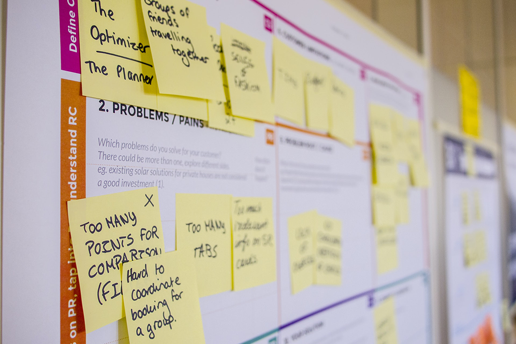 yellow post it notes on a whiteboard, strategic planning - Dragon360